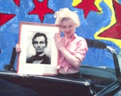 Marilyn Monroe and Honest Abe- Original Mixed Media on Canvas
