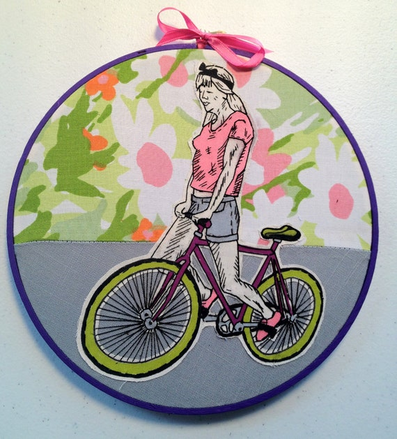 Fixie Kitsch: Hand Embroidered Wall art