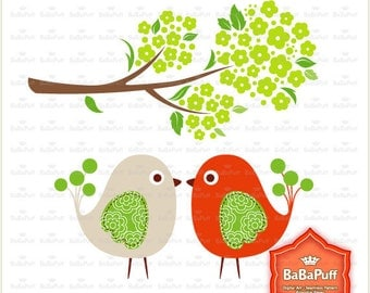 Instant Downloads, Kissing Birds and Green Blossom Tree Branch. Clip Art For Personal and Small Commercial Use. BP 0451