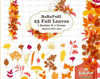 Instant Downloads, Digital Fall Leaves Set 3. Clip Art For Handmade Crafts Projects. Personal and Small Commercial Use. BP 0689
