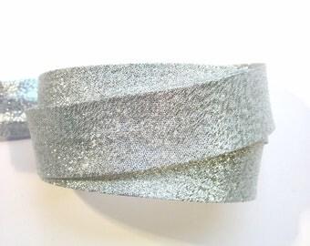 Metallic silver bias binding, silver bias tape, festive bias tape, metallic bias tape, sewing supplies, dressmaking, costume supplies
