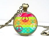 Peace Sign Necklace : Glass Picture Pendant Photo Pendant Handcrafted Jewelry by Lizabettas (1433)