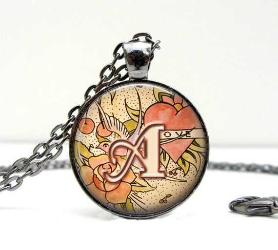 Personalized Initial Necklace : Ed Hardy Tatoo Art,  Made to order Gunmetal and Glass Pendant with Matching Chain (1657)