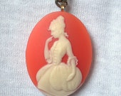SALE: Coral Cameo Pondering Jane Austen Long Gold Tone Chain Necklace