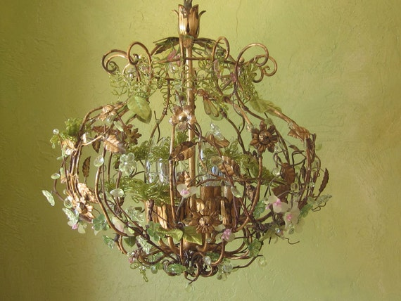 RESERVED  for Diane:  Chandelier Light, Woodland Secret Garden
