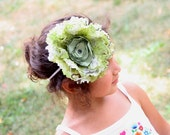 Dictionary-printed Floral Headband in Green and Black