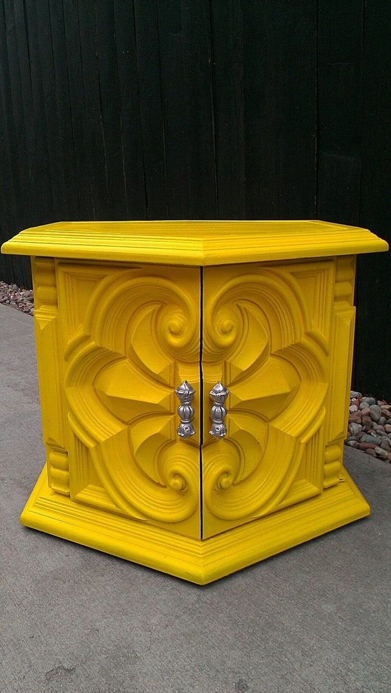 RESERVED FOR LAURA - Funky and Bold Yellow Side Table