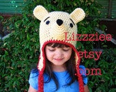 Pooh Bear Hat Pattern PDF - Instructions to make earflaps and beanies in 6 sizes, newborn to adult - Instant Digital Download