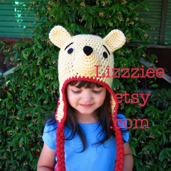 Crochet Pooh Bear Hat Pattern : Pooh Bear Hat Pattern PDF Instructions to make earflaps and