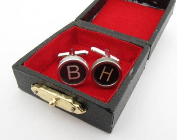 Cufflinks Cuff links Studs Cuff links Studs Cuff links StudsCuff Links Typewriter YOUR LETTER black ABC with Box upcycling