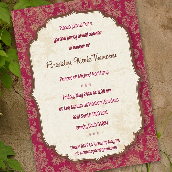 wedding invitations, garden party, bridal shower invitations, cranberry damask and ivory bridal shower, red and chocolate wedding invitation
