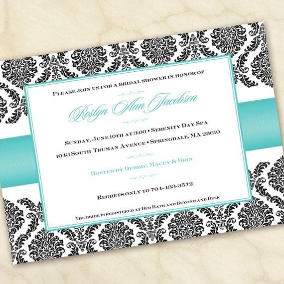 bridal shower invitations, wedding shower invitation printable, wedding shower invitation, turquoise bridal shower invitation, IN158