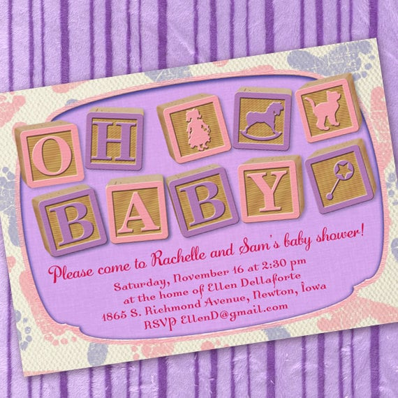 baby shower invitations, baby shower ideas, purple and pink baby shower invitations, baby girl shower invitations, baby shower invitation