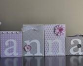 Custom Decor Blocks- Lavender and Grey