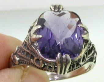 RARE 4ct Amethyst Victorian Filigree Ring with bows on the side  AMAZING
