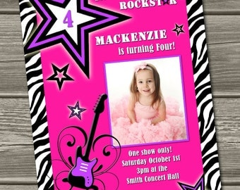 Rockstar Birthday Invitation - (Digital File) - I Design, You Print