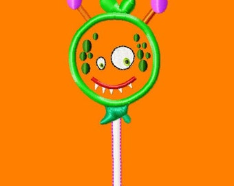 Halloween Lollipop - Alien - Applique - Machine Embroidery Design - 5 Sizes