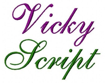 "Vicky Script - Machine Embroidery Font - Sizes 1"",2"",3"",4"" BUY 2 get 1 FREE"