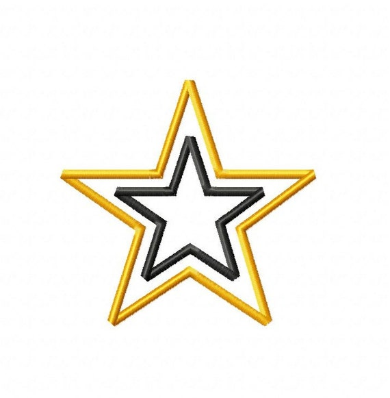 Army Star Applique - Machine Embroidery Design - 8 Sizes