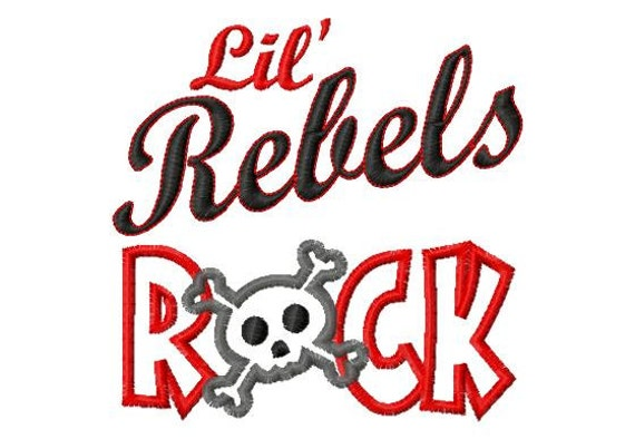 Lil Rebels ROCK - Crossbones - Applique - Machine Embroidery Design -  9 sizes