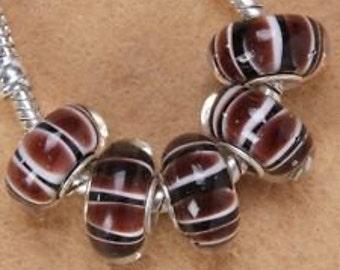 Brown Black and White Handmade Murano Lampwork  Glass Fits European Style Charm Bracelets