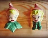 Vintage Pixie Elf Ceramic Pins / Brooches / Twin Pixies / Fairie Boy Girl / circa 1950 / Handmade / Signed