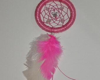 "3"" Hot pink small dream catcher / car mirror"