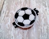 Black and White Soccer Ball Hair Clip - Felt Hair Clip - Sports Hair Clip