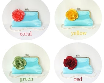 Blue Clutch Purse with Flower Adornment