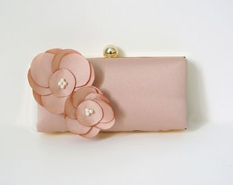 Romantic Clutch Purse with Handmade Flower Adornment and Pearls- Blush