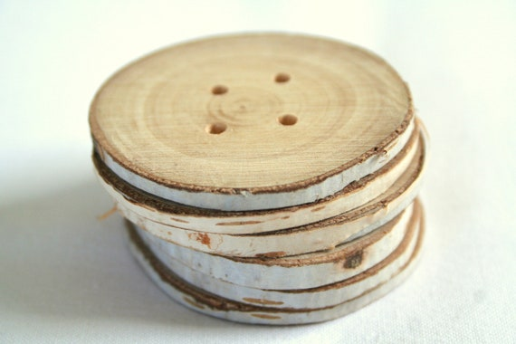 """Wood buttons - extra large from birch wood - set of 6 with 4 holes - almost 2"""""""
