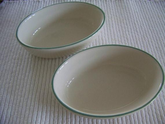 RESERVED for ELLEN la Que  - Vintage Buffalo China Restaurant Ware Oval Serving Bowls Dishes Set of 2 White