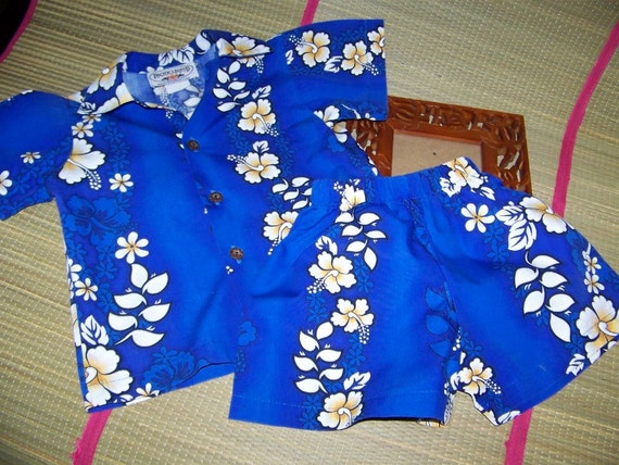 Vintage Baby Boy Childrens Toddler Hawaiian Aloha Shirt with Matching Shorts Size 1T