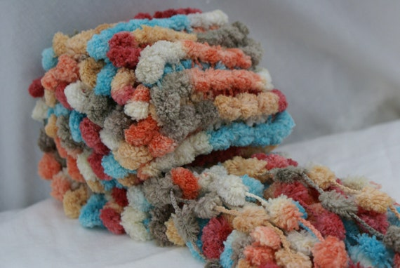 Fall Winter very very soft scarf and hair ear band hand knit multicolored  furry with pompom