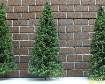 MINIATURE PINE TREES - 7 Inches Tall - 10 Piece Set - Fairy Gardens - Diorama -  Doll House - Model Railroad Supplies