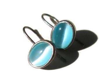Vintage Earrings Blue Chalcedony Sterling Silver