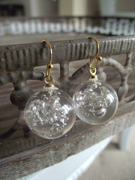 DANGLE EARRINGS - Bubble Globes & Gold