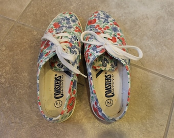 vintage floral print canvas sneakers by coasters // women's size 7.5