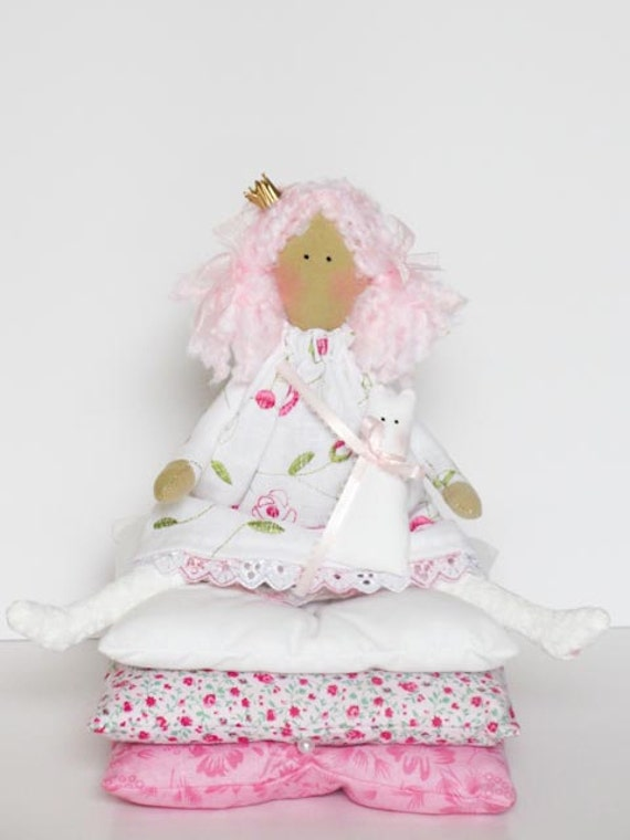 Handmade cloth doll, fairy tale doll Princess and the Pea in white pink dress,pink hair with kitty, fabric doll,stuffed doll - gift for girl