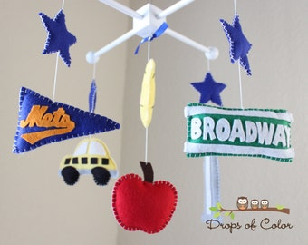 Baby Crib Mobile - Baby Mobile - Night in New York City Mobile - Big Red Apple, Broadway - Nursery Decor (You can pick your colors)