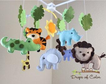 Safari Baby Mobile, Animals Baby Crib Mobile,  Neutral Girl Boy Nursery Jungle Mobile, Palm Leaves, Elephant, Giraffe, Monkey Handmade Felt