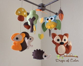 "Baby Crib Mobile - Baby Mobile - Nursery Forest Crib Mobile - ""Forest Little Creatures"" (You Can Pick Your Colors)"