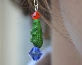 Gator Orange and Blue Dangle Earrings