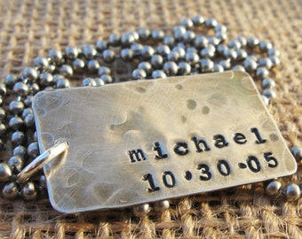 Dog Tags - Personalized Dog Tags - Dad Gift - Personal Gift for Him - Unisex Dog Tags - Sterling Silver Dog Tags