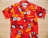 Mens Vintage 60s Otaheite Barkcloth Tribal Tapa Bark Cloth Tiki Hawaiian Shirt - S - The Hana Shirt Co