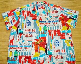 Mens Vintage 80s Nui Nali Advertising Hawaiian Iconic Scenes Tiki Shirt - XXXL 3XL -  The Hana Shirt Co