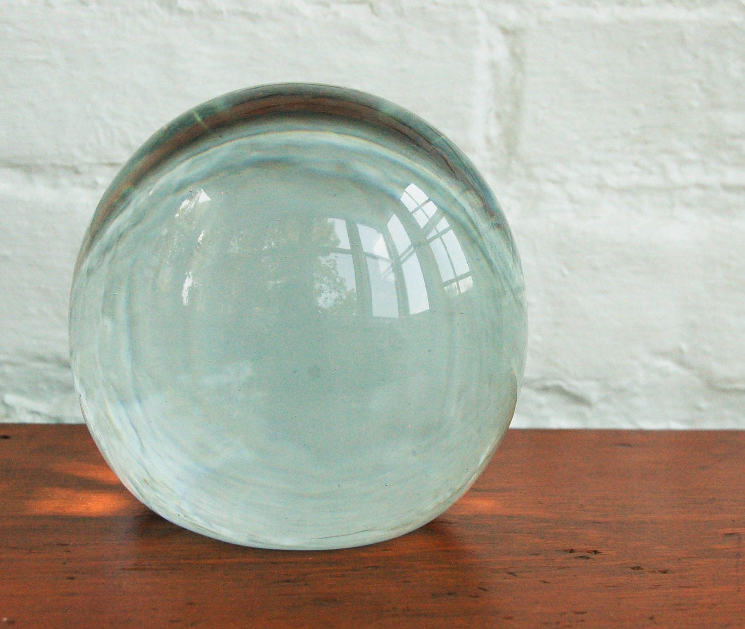 Vintage large glass globe crystal ball paper weight