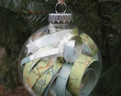 Vintage Map Glass Ornament. Perfect Gift For Mom Or Grandma. Unique, Whimsical, Rustic. Anniversary.