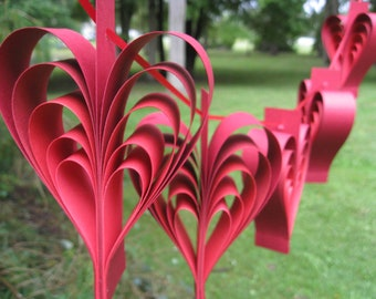 Red Ombre Heart Garland. Wedding, Shower Decoration. ANY Color Available. CUSTOM Orders WELCOME.