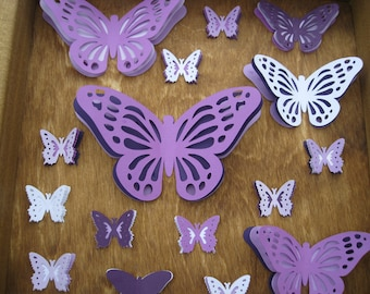 Butterfly Shadow Box Collection, In Purple. 12 inch. Custom Orders Welcome.